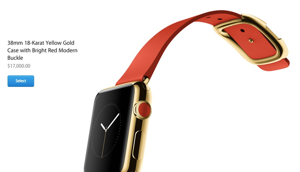 picture of red apple watch edition with gold face