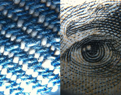 Zoomed in images of Jeans and 20 Dollar Bill Under Microscope