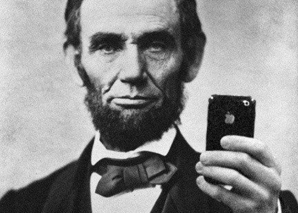 Abraham Lincoln votes with an iPhone