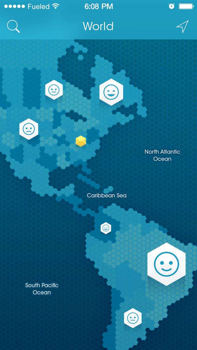 screen of Sunnycomb mobile app showing world map