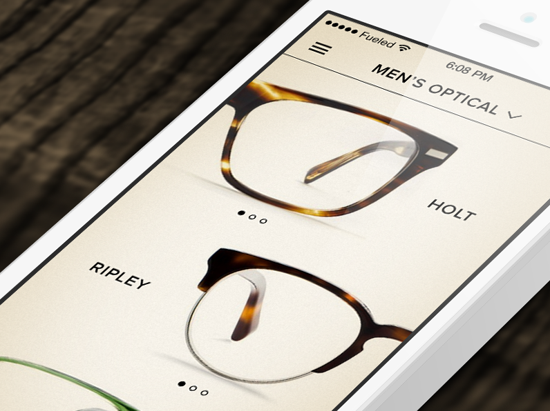 Fueled built a sleek mobile e-commerce app for Warby Parker