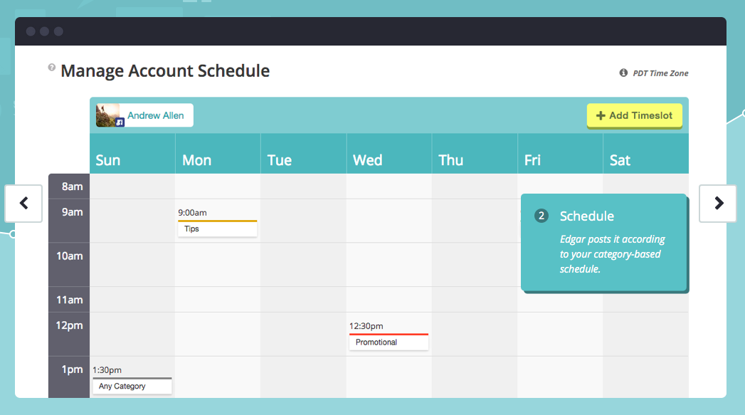 Meet Edgar enables you to create a content schedule