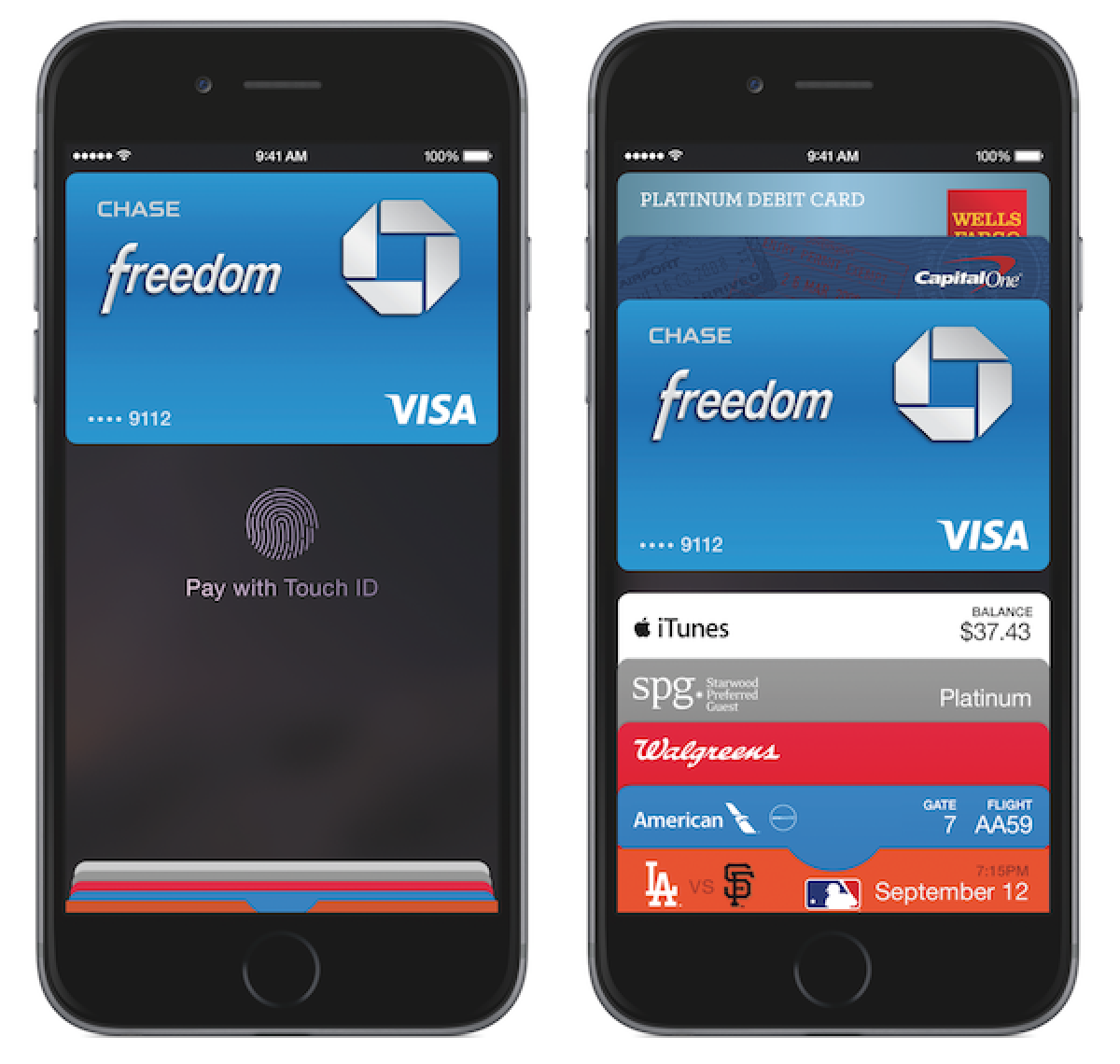 apple pay app showing Chase credit card on an iphone