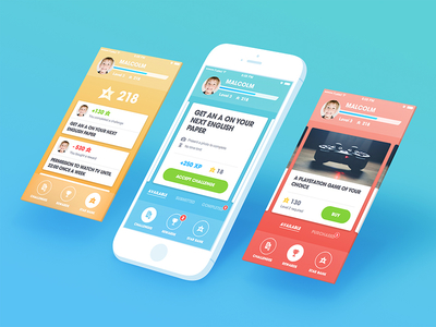 A Couple Of Screens From An App Aiming At Rewarding Kids For Their Accomplishments in Los Angeles App Development