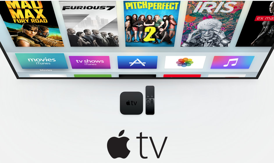 The range of Apple TV apps is growing fast, with everything from music to games and movies shown here