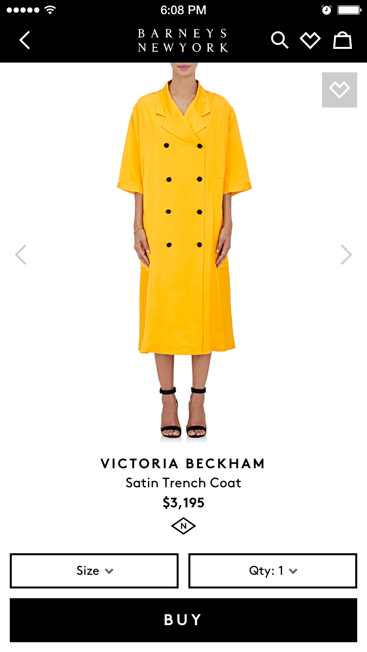 Yellow dress on the Barneys of New York fashion app by Fueled