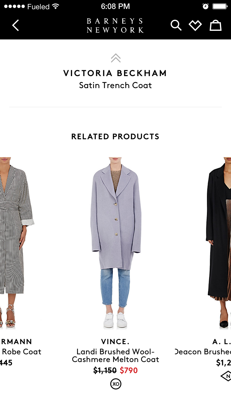 Barneys of new york fashion app showing three overcoats