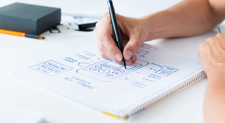 hand drawing wireframes for an app
