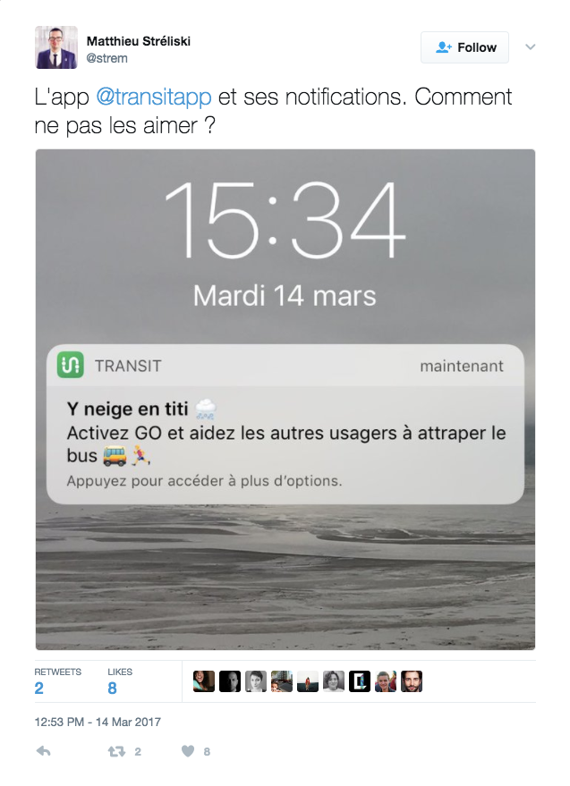 Transit Using Notifications to Catch Users Attention