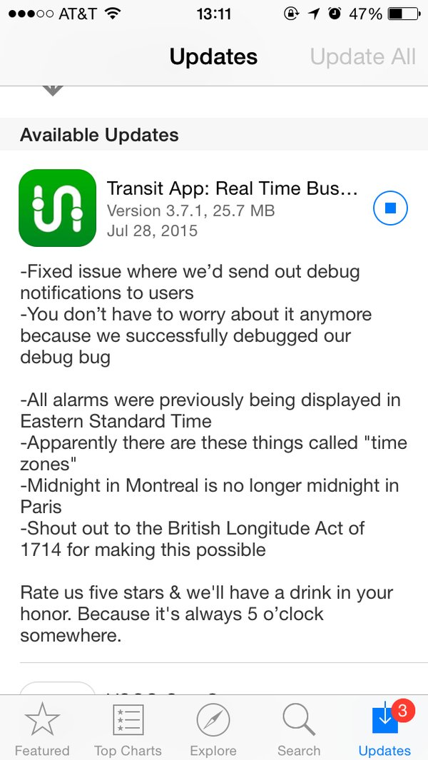 Transit iOS App humorous release notes with subtle request for action