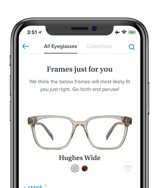 Preview of Warby Parker app