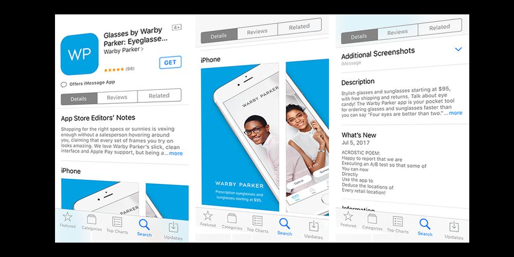 warby parker app in app store