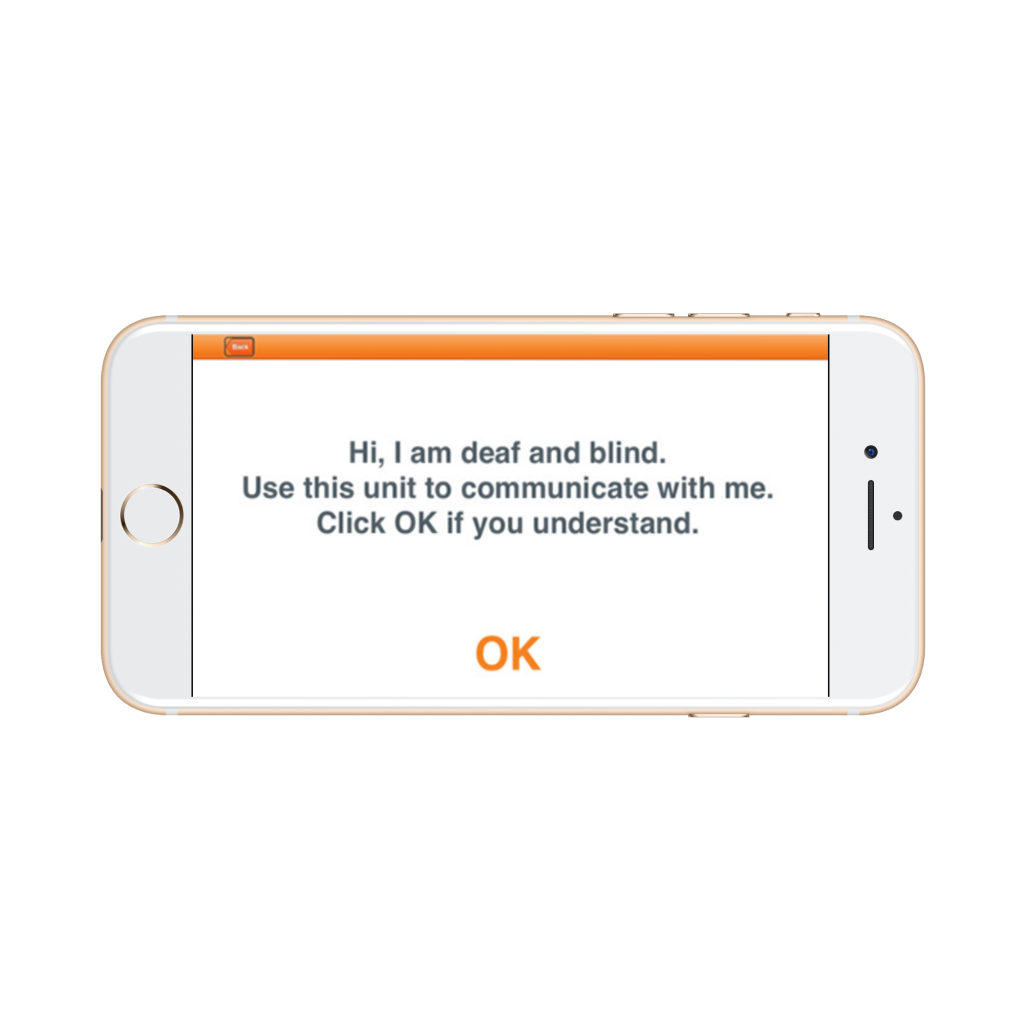 alert for speaking people on humanware communicator app for deaf-blind people