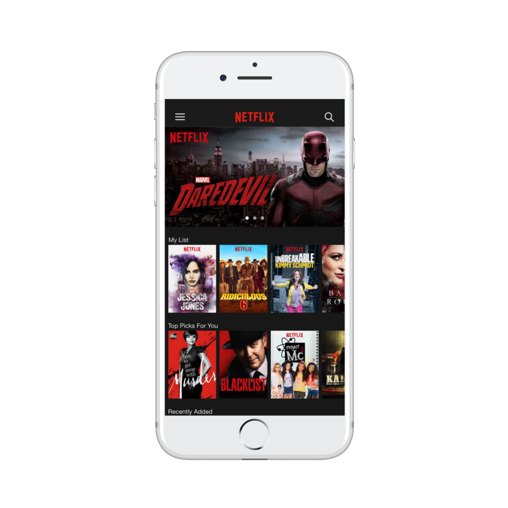 menu of options on netflix app | deaf apps