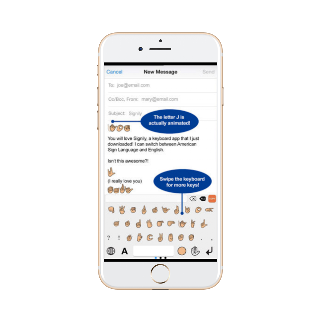 the asl handshape keyboard show in messaging app | deaf apps