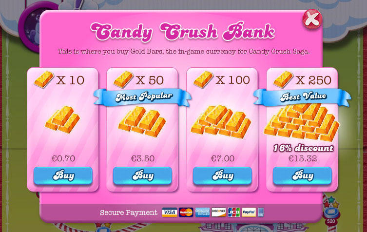 free app candy crush in app purchasing screenshot