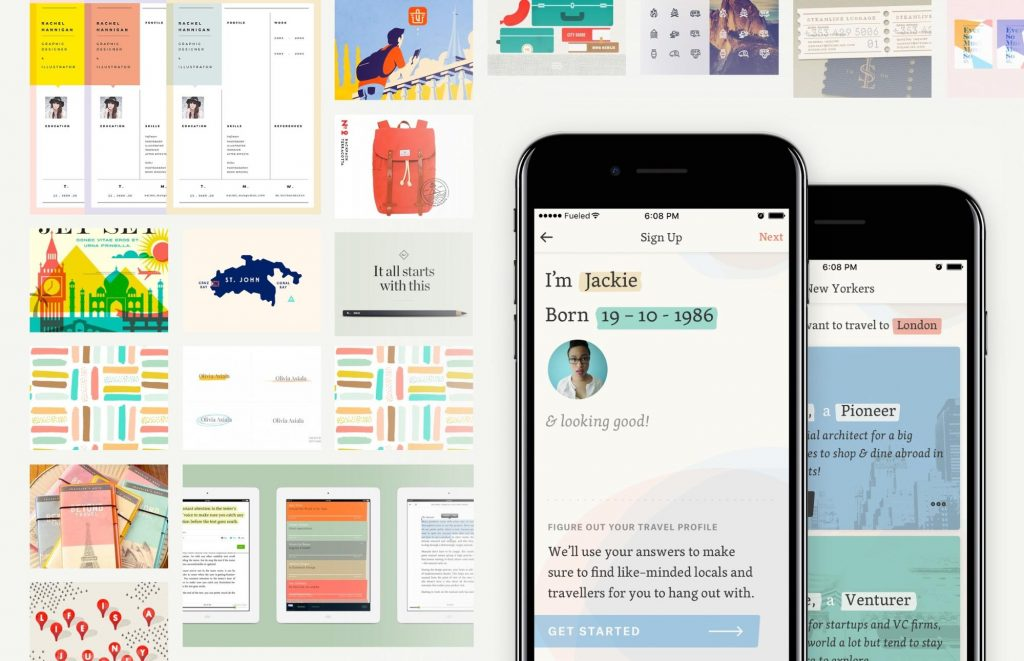 design mood board elements with finished mobile app product on top