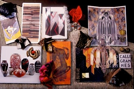 fabric samples and pictures on physical mood board from fashion designer oscar de la rents