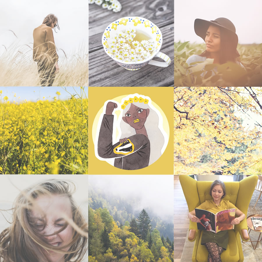 nine-square grid of yellow-hued photos in mood board for ravenclaw hogwarts house