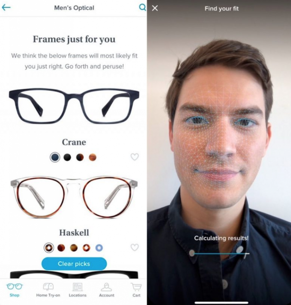 ar, augmented reality, e-commerce, warby parker app, face shape, trying on glasses, ipad, app developer, app development, ar app
