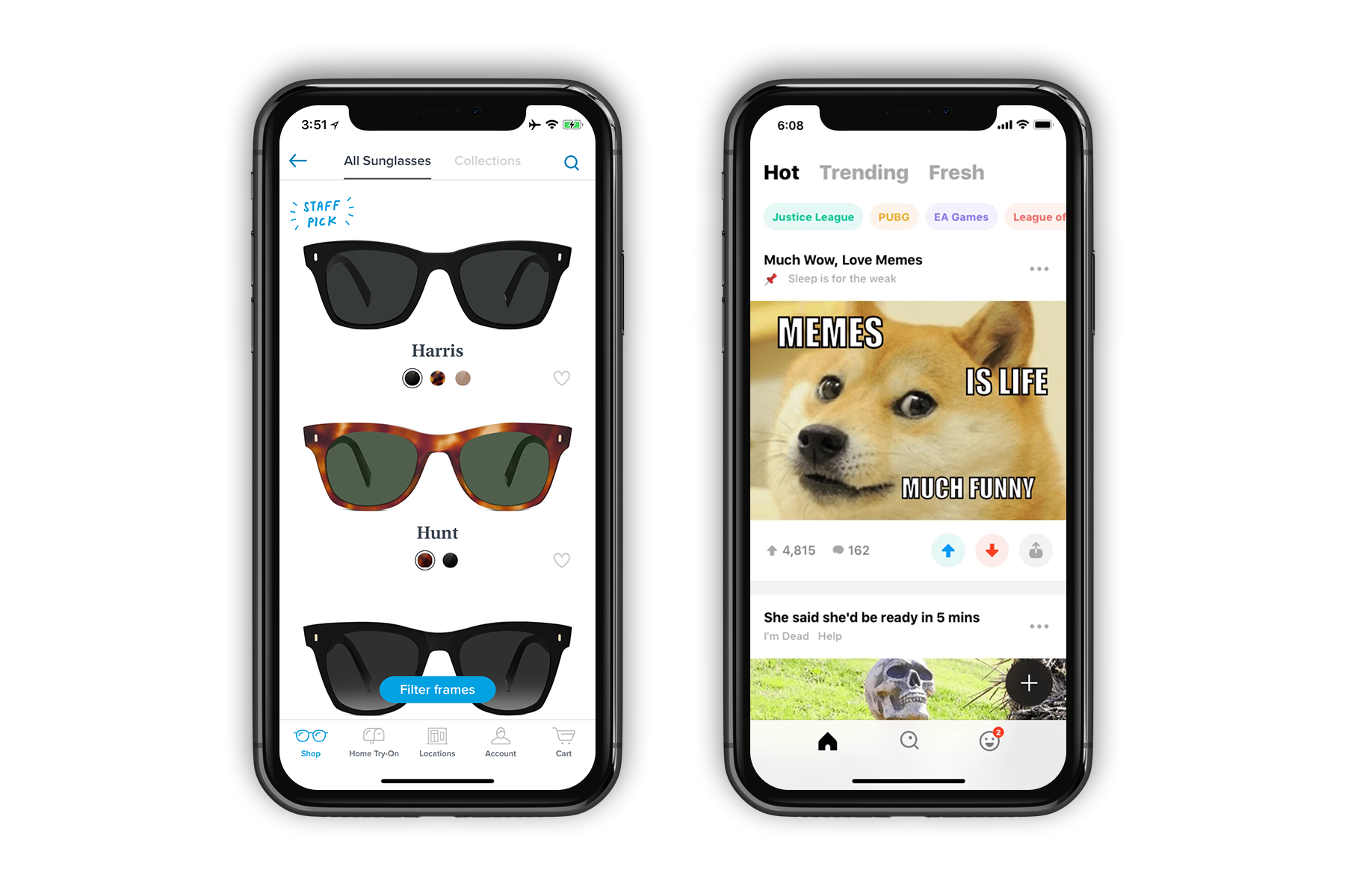Previews of Warby Parker and 9GAG apps