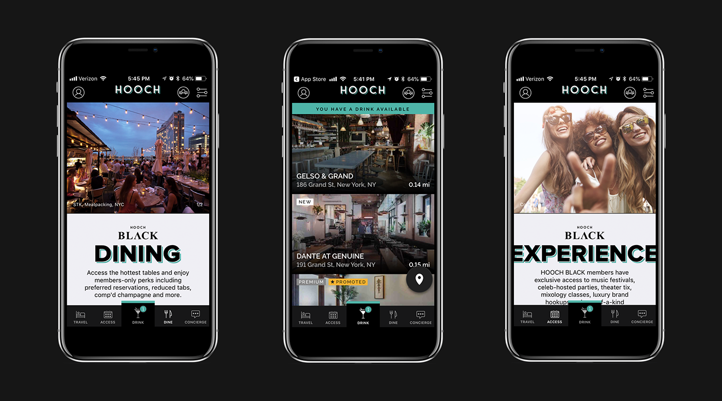 Hooch Cocktail Mobile App Screenshots