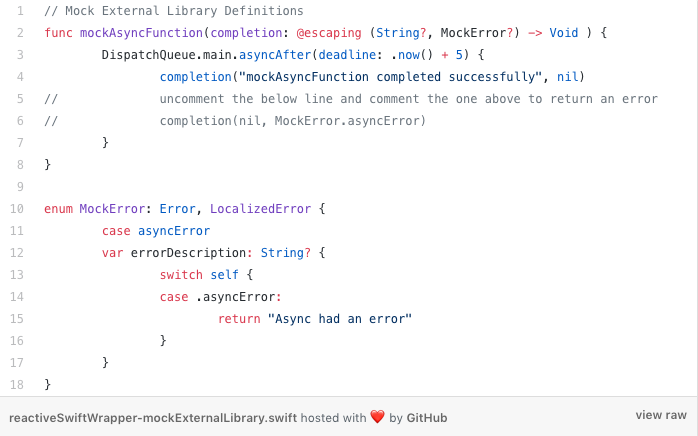 Mock external library definitions for asynchronous ios development