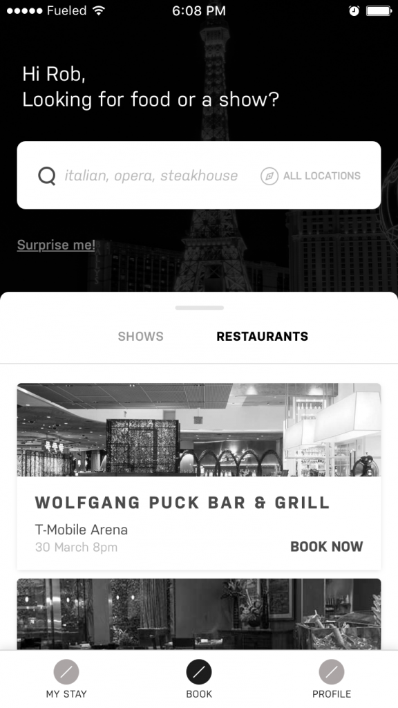 mobile app wireframes mgm