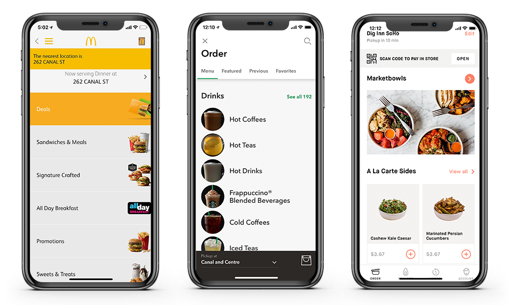 mcdonalds dig inn starbucks app screenshot comparisons mobile ordering apps