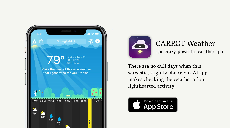 CARROT app sassy weather app hero