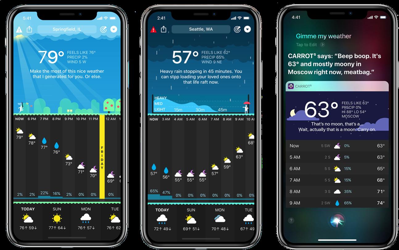 CARROT sassy weather app