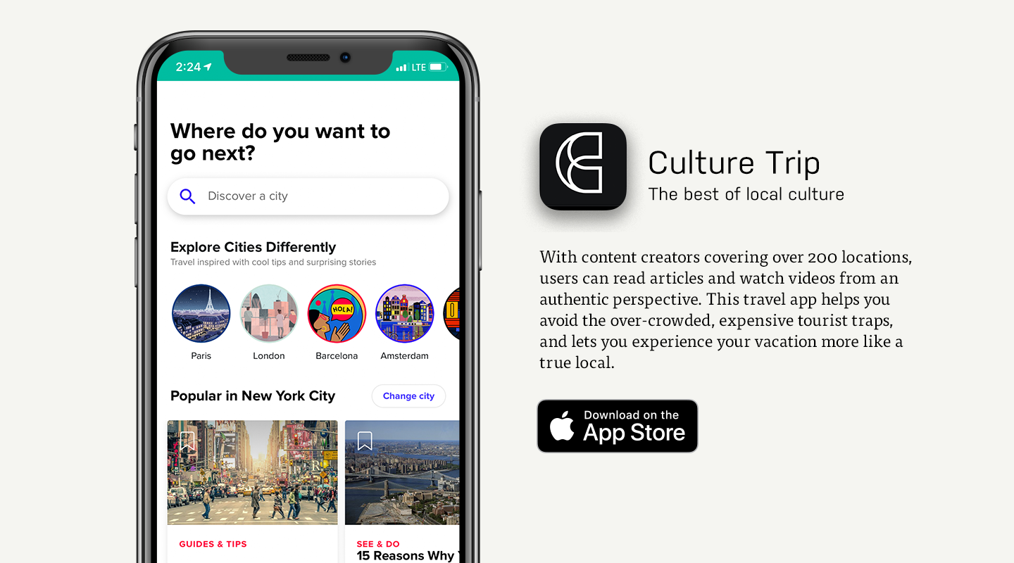 iOS preview of Culture Trip