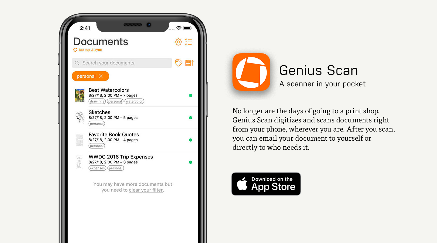 iOS preview of Genius Scan, the document scanning app