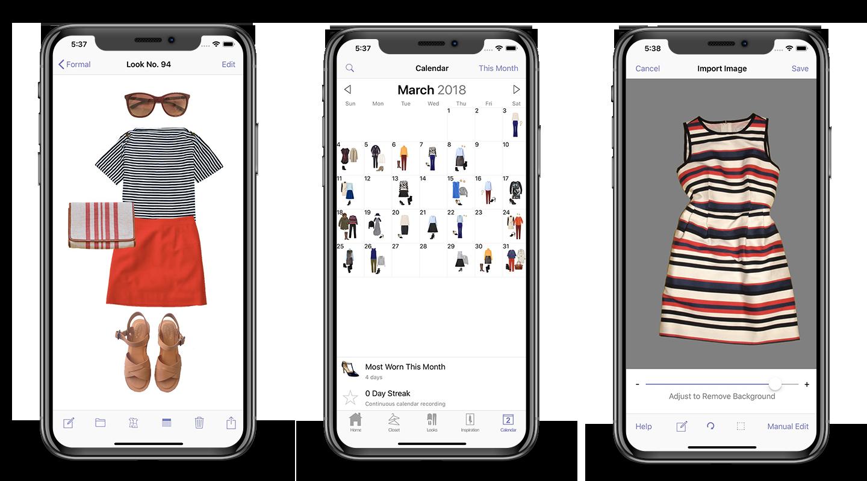 Screenshots of Stylebook app