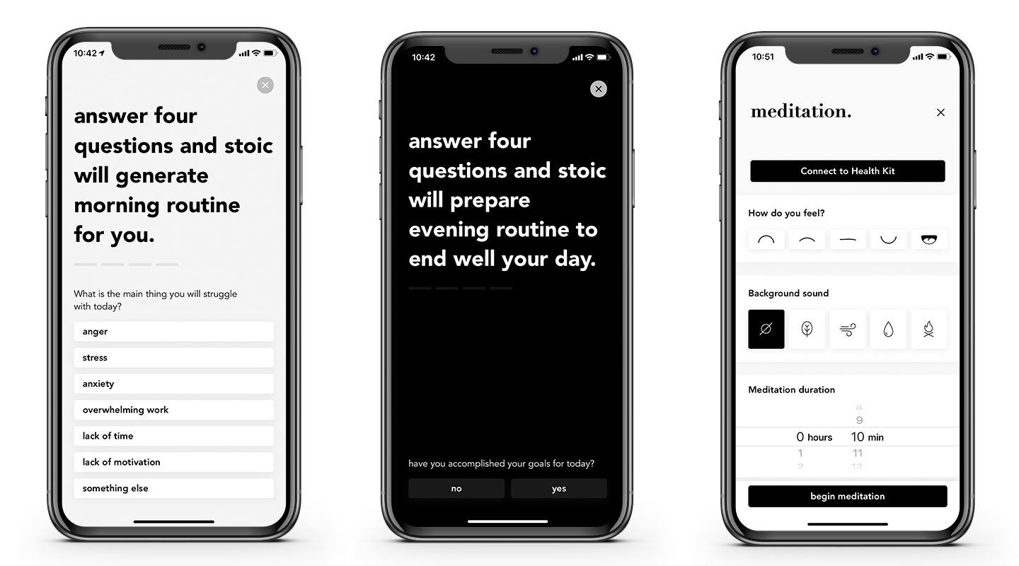 Screenshots of Stoic app