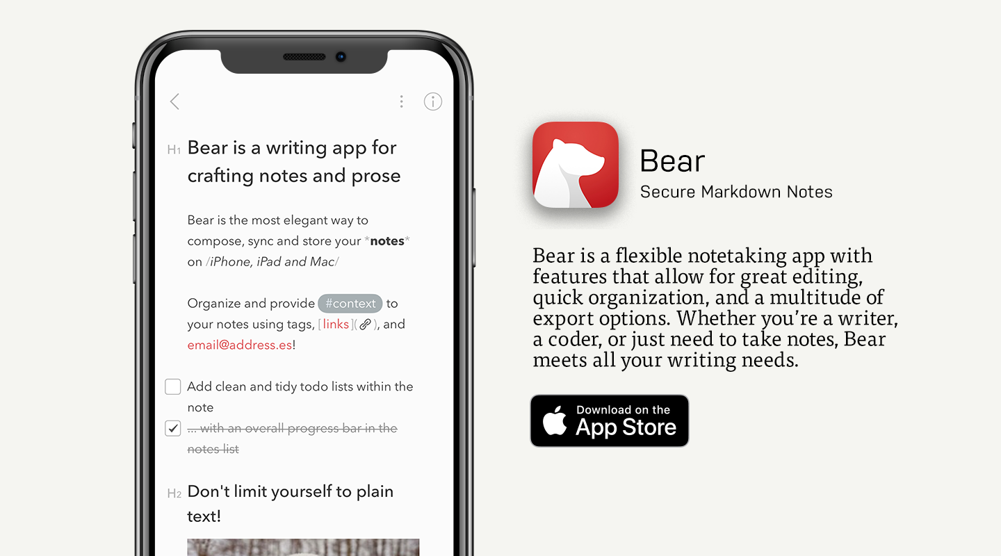 App Store preview of Bear