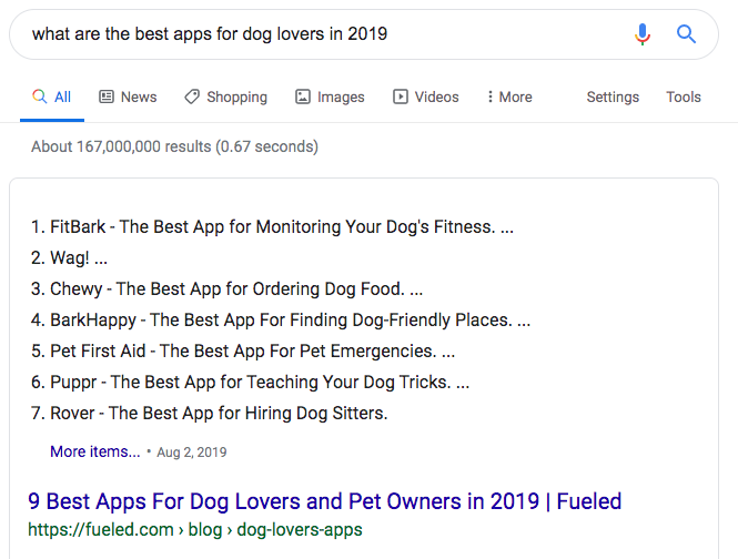 Best App for Dogs 2019 search results