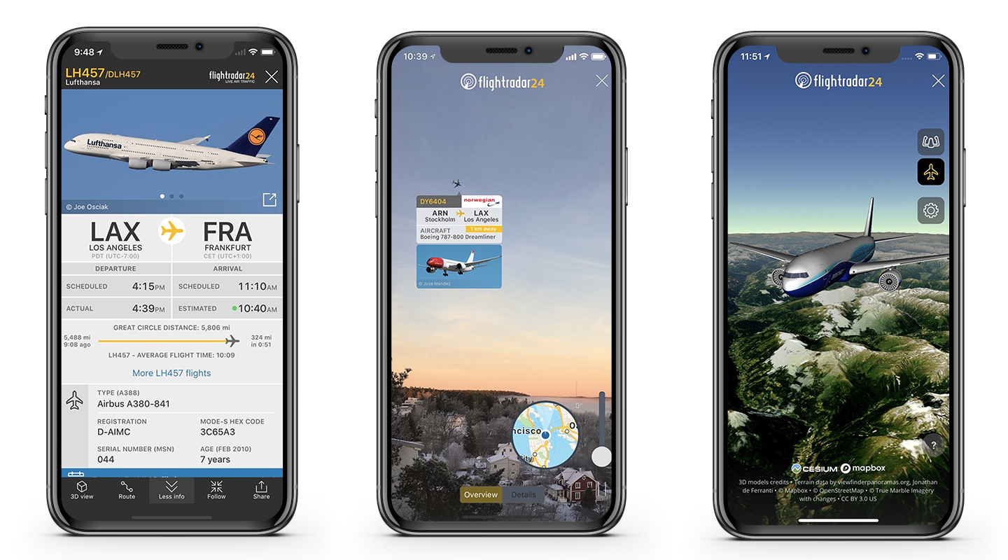 Screenshots of Flightradar24