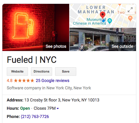 Google My Business results for Fueled