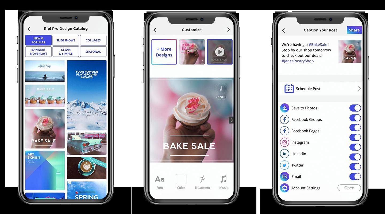 Screenshots of Ripl app