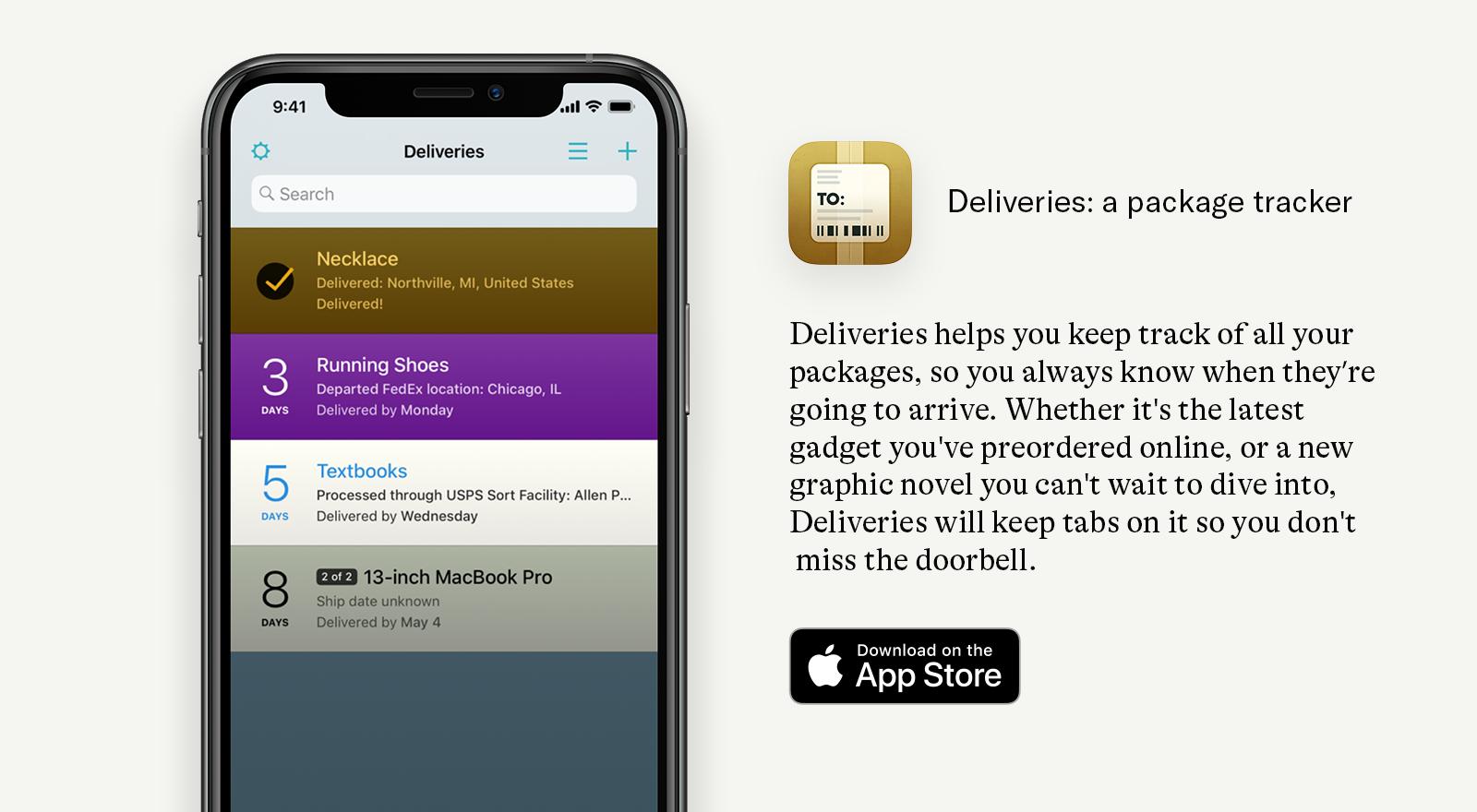 deliveries app description