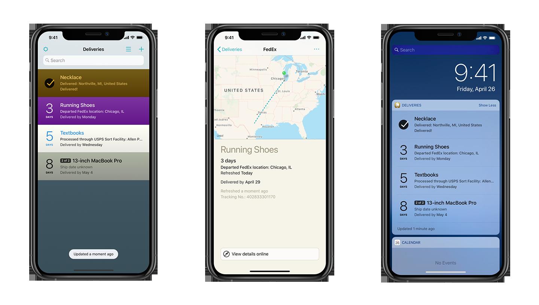 deliveries app screens