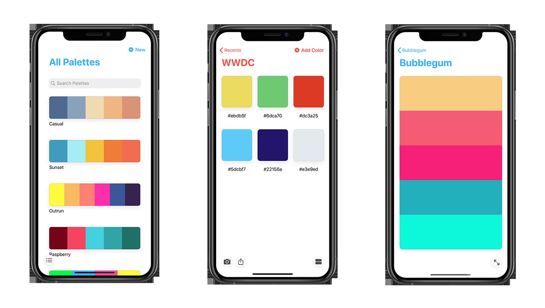pastel app screens