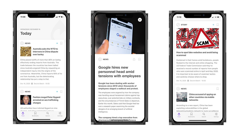 newsdrop app screens