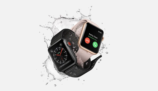 apple series 3 watches emerging from water