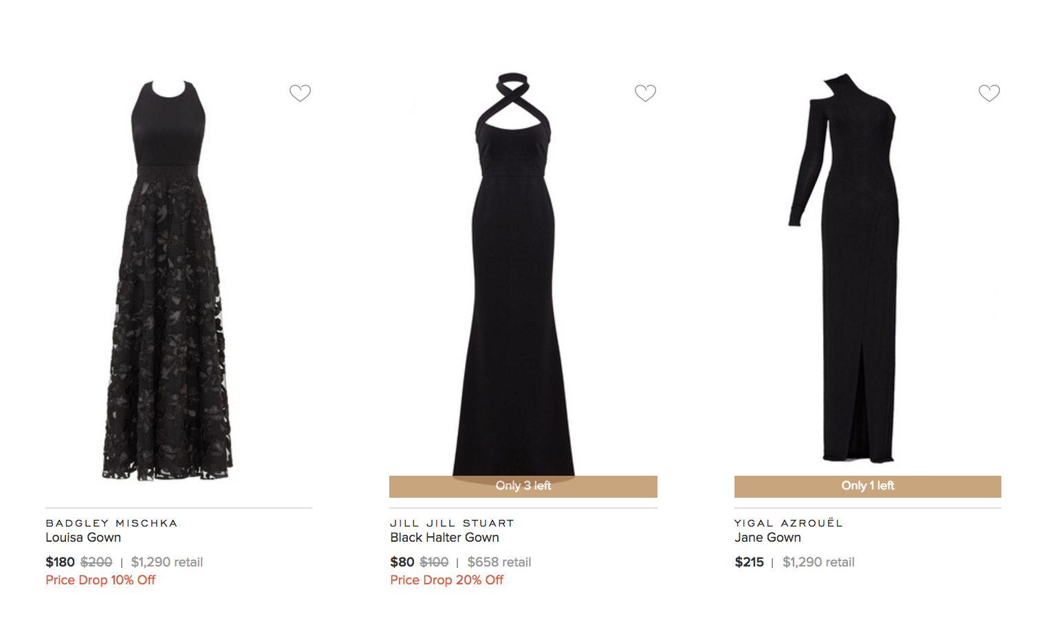 minimal viability product in the case of rent the runway shown as three black dresses