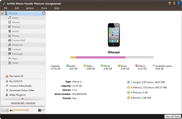 iPhone 4, ImTOO iPhone Transfer Platinum, Storage