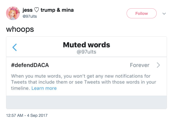 online troll uses screenshot of muted words in twitter to rile users